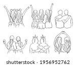 set of best friends hugging.... | Shutterstock .eps vector #1956952762