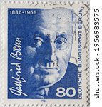 Small photo of GERMANY - CIRCA 1986 : a postage stamp from Germany, showing a portrait of the doctor, poet and essayist Gottfried Benn