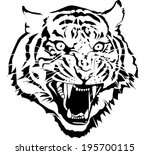 black and white tiger head... | Shutterstock .eps vector #195700115