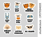 a set of cute stickers with... | Shutterstock .eps vector #1957034035