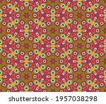 abstract colorful doodle flower ... | Shutterstock .eps vector #1957038298