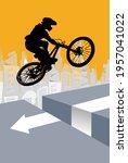 active man. bmx rider in... | Shutterstock .eps vector #1957041022