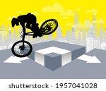 active man. bmx rider in... | Shutterstock .eps vector #1957041028