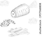 hand drawn carrots set. half... | Shutterstock .eps vector #1957068808