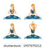 set of meditating women. girls...   Shutterstock .eps vector #1957070212