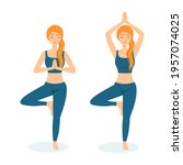 group of meditating women....   Shutterstock .eps vector #1957074025