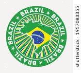 Brazil Round Stamp. Logo Of...