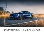 Small photo of Kharkiv, Ukraine - July 2020: Ford Mustang tuned by SS-Tuning