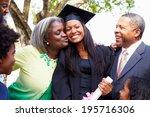 student celebrates graduation... | Shutterstock . vector #195716306