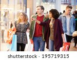 group of young friends shopping ... | Shutterstock . vector #195719315