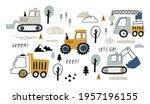 hand drawn cute cars   truck ... | Shutterstock .eps vector #1957196155