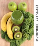 green smoothie made with... | Shutterstock . vector #195721685