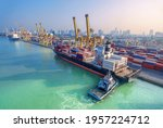 Aerial View Container Ship In...