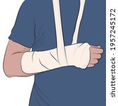 man with arm in a cast and... | Shutterstock .eps vector #1957245172