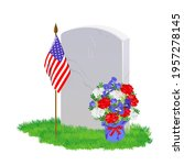 a white marble tombstone on the ... | Shutterstock .eps vector #1957278145