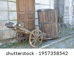 Wooden Cart And Wooden Barrel...