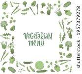 vegetarian menu handwritten... | Shutterstock .eps vector #1957379278