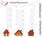 handwriting practice sheet....   Shutterstock .eps vector #1957400065