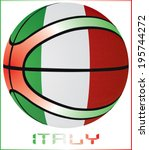 basket ball with italy flag   Shutterstock .eps vector #195744272