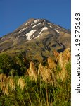 Summer shot of Mount Taranaki in New Zealand with grasses in foreground - stock photo