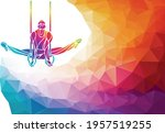 gymnastics rings silhouette on...   Shutterstock .eps vector #1957519255