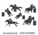 rodeo barrel racer vector and... | Shutterstock .eps vector #1957519885