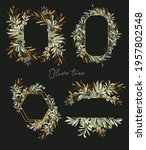 set of gold frames with green... | Shutterstock . vector #1957802548