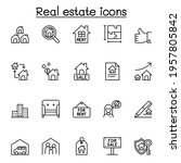 real estate icon set in thin... | Shutterstock .eps vector #1957805842