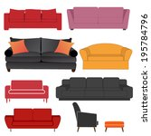 set of sofas in vector format | Shutterstock .eps vector #195784796