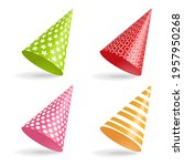 set of colorful party hats with ... | Shutterstock .eps vector #1957950268