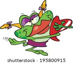 cartoon girl frog holding a... | Shutterstock .eps vector #195800915
