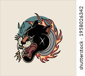 flaming panther tattoo vector...   Shutterstock .eps vector #1958026342
