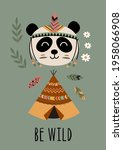 poster with tribal panda and... | Shutterstock .eps vector #1958066908