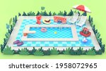the swimming pool is surrounded ...   Shutterstock . vector #1958072965