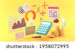 the calculator is surrounded by ...   Shutterstock . vector #1958072995