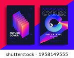 cyber futuristic posters with... | Shutterstock .eps vector #1958149555