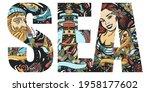 sea slogan. double exposure... | Shutterstock .eps vector #1958177602