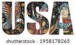 usa slogan. statue of liberty ... | Shutterstock .eps vector #1958178265