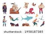 pirates set. cartoon crew of... | Shutterstock .eps vector #1958187385