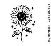 Hand Drawn Sunflower Thin Line...