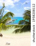 vacation concept. palm trees ...   Shutterstock . vector #1958208112