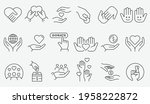 charity icon set. collection of ... | Shutterstock .eps vector #1958222872