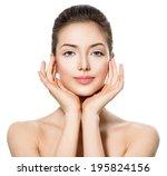 beautiful teen girl with clean... | Shutterstock . vector #195824156