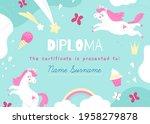 unicorns frame. kids diploma...   Shutterstock .eps vector #1958279878