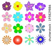 flowers set with different... | Shutterstock .eps vector #195829886