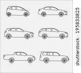 cars icon set. different vector ... | Shutterstock .eps vector #195833825