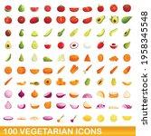 100 vegetarian icons set.... | Shutterstock .eps vector #1958345548