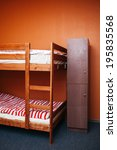 Stock photo hostel room with city view color room bright interior 195835568