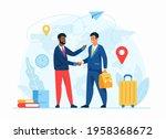 work abroad concept flat vector ... | Shutterstock .eps vector #1958368672