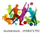 soccer players with ball....   Shutterstock .eps vector #1958371792